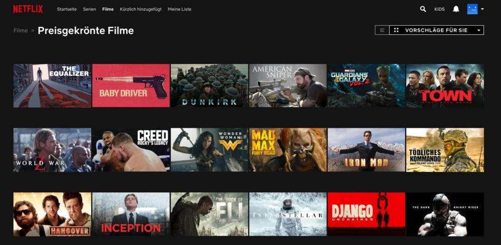 Preisgekrönte Filme bei Netflix