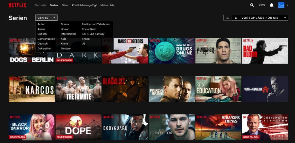 Serien bei Netflix Screenshot 1