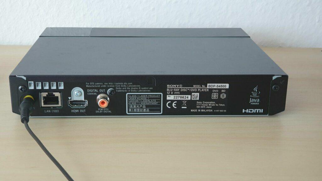 Sony BDP S4500 Anschluesse