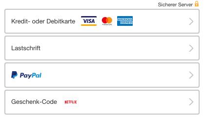 Zahlungsmöglichkeiten bei Netflix 1